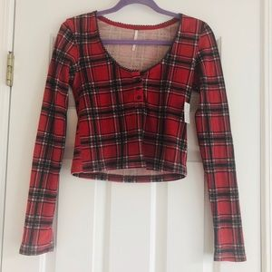 Free People crop plaid Henley